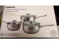 "BRAND NEW ""SABICHI 3 piece stainless steel saucepan set"