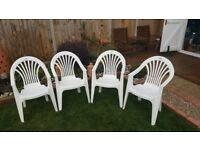 4 white quality garden chairs