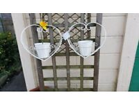 Two Heart Shaped Cream Metal Hanging Basket Planters Pot Shabby Chic Vintage Style (Brand New)