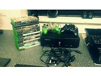 Xbox with 2 controllers and 16 games