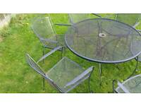 Patio set metal table and 6 chairs