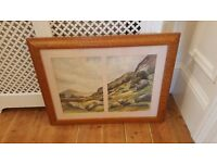 lake district watercolour painting in burr walnut frame