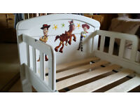 White Toddler Bed for Sale - Toy Story Decals - No Mattress Included