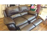 Two seater brown faux leather full reclining sofa / settee / couch