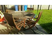 Wooden Garden Table and 4 chairs