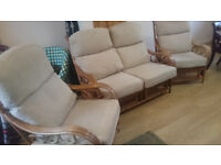 Wicker style rattan cream conservatory furniture 3 piece- settee & 2 chairs