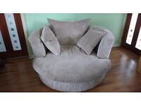 Large swivel armchair - light brown