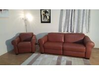 Ex-display Natuzzi Salerno tan leather electric recliner 3 seater sofa and manual recliner chair