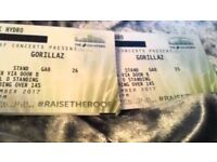 Gorillaz concert tickets x2