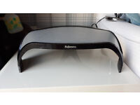 Monitor riser platform stand, fits into corner, increases height by 10cm to 13cm, Fellowes