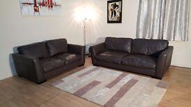 Ex-display Sisi Italia Parma brown leather 3+2 seater sofas