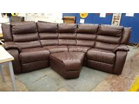 Brown leather reclining corner unit with pouffe
