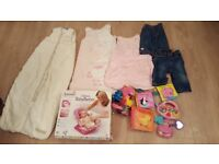 Pink Deluxe Baby Bather, bath books. Lamaze Dragon, teether bag, Vtech radio, 3 grobags and 2 jeans