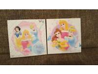 Pretty Disney Princess set with a clock and 2 pictures