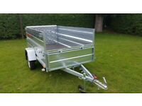 BRAND NEW MODEL 8.7x4.2 SINGLE AXLE TRAILER DOUBLE BROADSIDE AND RAMP TIPPING 750KG