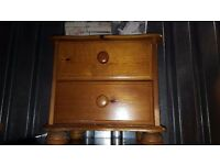 2 drawer solid pine bedside table