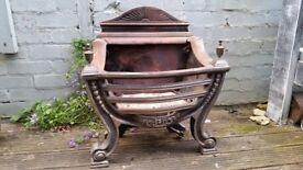 vintage cast iron gas fire basket