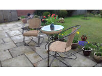 Conservatory bistro set - two chairs and one glass-topped table, wicker and metal, superb condition