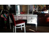 FRENCH STYLE. DRESSING TABLE WITH MIRROR AND CHAIR. EX. CONDITION