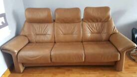 Fjords leather 3 seat sofa reclining