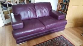 Aubergine (deep purple) 2 seater leather sofa