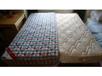 Single divan bed with pull-out sleepover bed