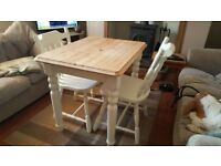 900mm x 680mm Shabby Chic Table and 2 Chairs - Painted with Farrow and Ball New White