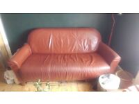 Cherry red leather large 3 seater sofa