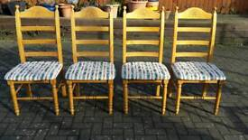 Solid Pine chairs with decorative detail x4