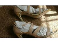 New look gold shimmer size 6 shoes