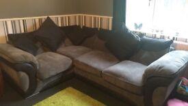 Grey & black corner sofa/sofa bed
