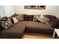 DFS fabric corner sofa and foot stall
