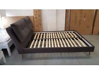 BRAND NEW GREY FABRIC KING SIZE BED WITH TWIN CUSHIONED HEADBOARD & ORTHO MATTRESS ** CAN DELIVER**
