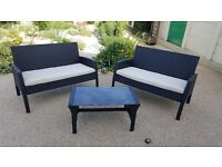 PE Rattan Garden Furniture Outdoor / Conservatory 2 Sofas and a Glass top Coffee Table