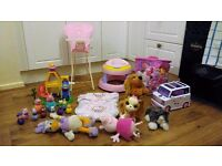 Bundle of girls toys, baby annabel, furreal, mega blox, disney, peppa pig weebles etc