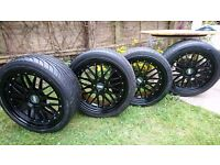 BBS R18 ALLOY WHEELS IN BLACK WITH TYRES