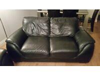 Black leather sofa 3, 2 & 1 seater