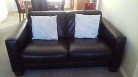 Leather sofa 2 seater brown