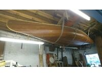 Hand made wooden canoe