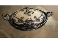 "Antique Royal Stafford Pottery ""Iris"" Casserole Dish & Ladle"