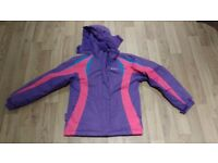 Age 11-12 Mountain Warehouse ski jacket, pink and purple. Very good condition.