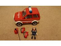 Playmobil fire chief's car set, ideal accompaniment for firemen/engine/station collection