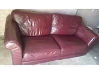 large leather sofa (red)