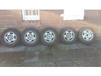 "5 x 15"" Honda CRV steel wheel hubs and tyres"