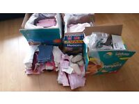 4 boxes full of girls baby clothes 0 - 12 months