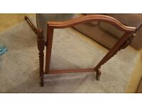 Pine dressing table mirror on stand and padded stool
