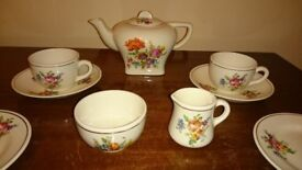 Corona mid century dolls tea set for two