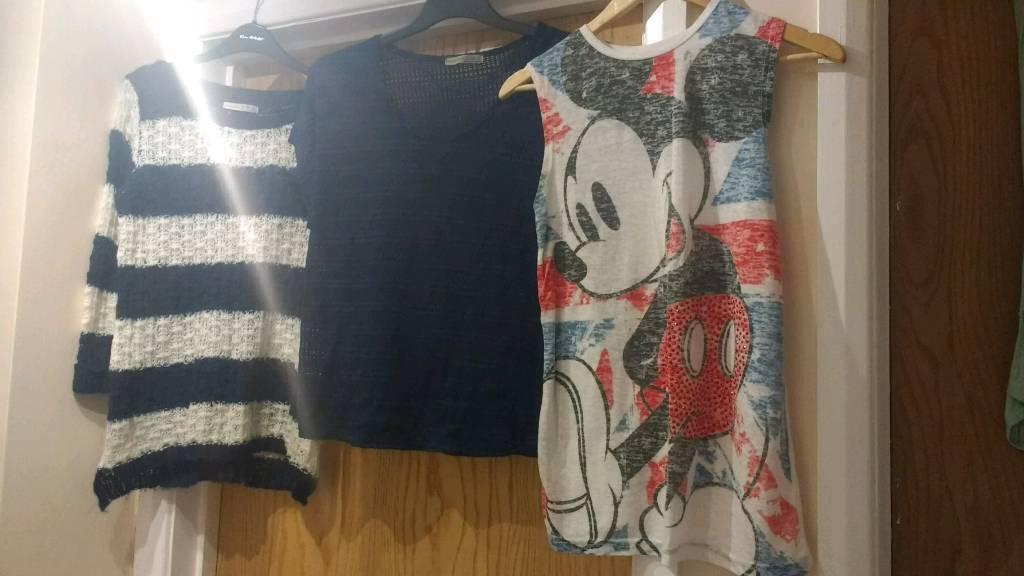 Assortment of ladies clothing size 8 & 10. Jumpers, dress, t-shirt, shorts, coats...