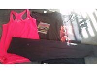 Size 10 gym bundle 3×tops 1 pair of adidas leggings