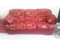 2 x 3 SEATER SOFAS WITH MATCHING FOOT REST IN EXCELLENT CONDITION. (Buyer collects)